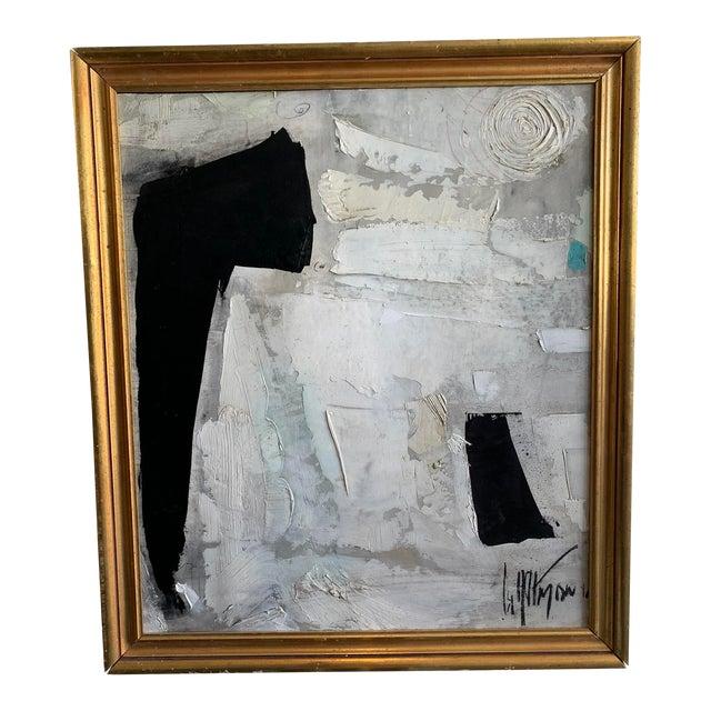 1960s Graham Harmon Black & White Oil Painting For Sale