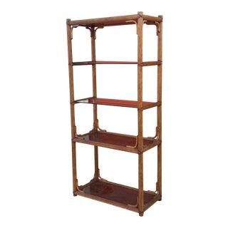 1980s Faux Bamboo & Glass Bali Hai Bookshelf For Sale