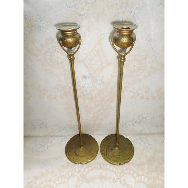 Antique Tiffany Studios Bronze Candlesticks With Gold Gilt - a Pair For Sale - Image 13 of 13