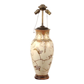 Late 19th Century Japanese Meiji Period Earthenware Vase Lamp For Sale