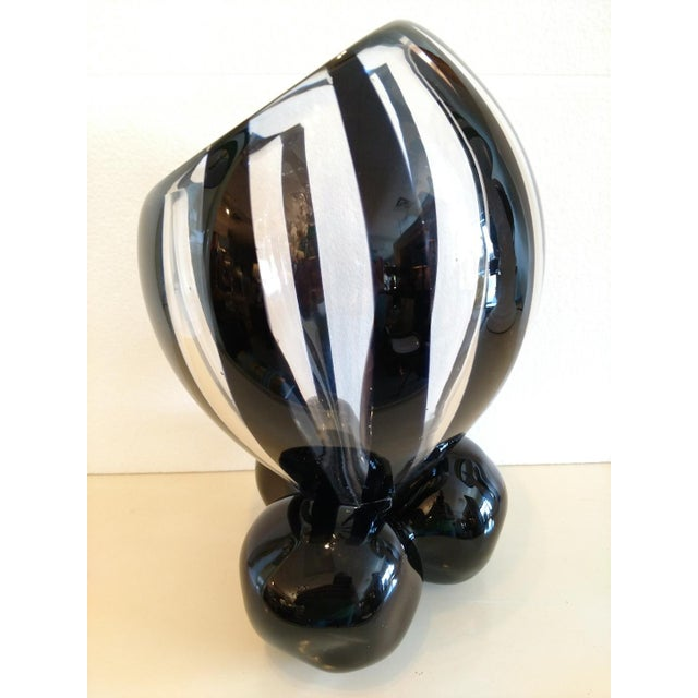 Mid 20th Century Pino Signoretto, Murano Black/Clear Art Glass Vase on Stand For Sale - Image 5 of 12