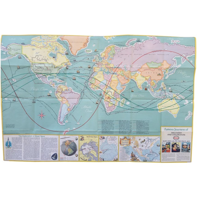Vintage Map Journeys of Discovery and Exploration - Image 1 of 9