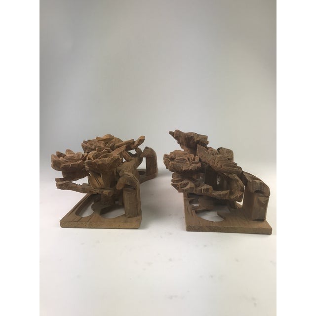 Wood 1980s Vintage Chinese Wood Carving Architectural Pieces- A Pair For Sale - Image 7 of 8