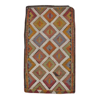 Mid-20th Century Vintage Handmade Turkish Flatweave Kilim Throw Rug For Sale