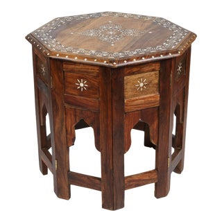 20th Century Anglo Indian Bone Inlaid Octagonal Side Table For Sale