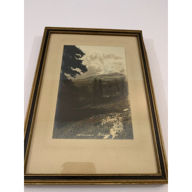 Country Vintage Mid-Century Black and White Framed Mountain Landscape Photograph For Sale - Image 3 of 5