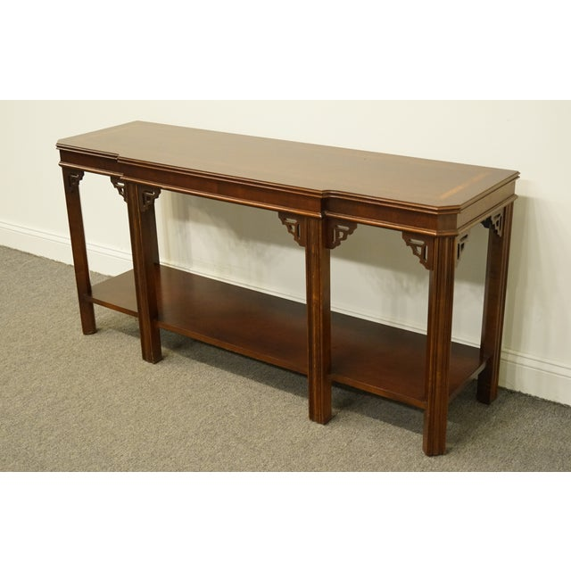 "Mediterranean 20th Century Traditional Lane Furniture Altavista Bookmatched Banded Mahogany Mediterranean Style 54"" Accent Sofa/Console Table For Sale - Image 3 of 11"