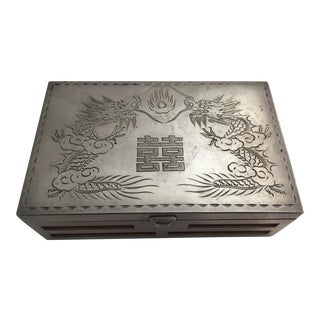 Early 20th Century Chinese Dragon Paktong Box For Sale