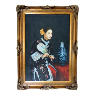Traditional Oil Painting of a Young Chinese Girl With Fan, Gold Frame For Sale