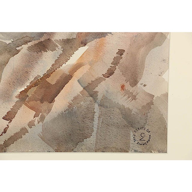 White Original Vintage Mid 20th C. Modern Watercolor-Carl Zimmerman-Coastal View For Sale - Image 8 of 9