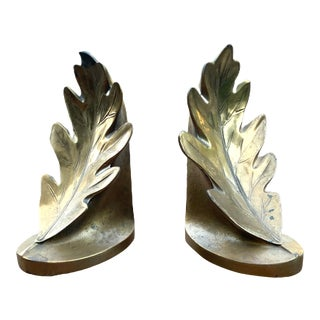 Vintage PM Craftsman Oak Leaf Brass Finish Bookends - a Pair For Sale