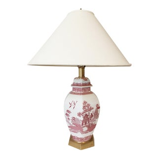 Vintage Spode Red Willow Ginger Jar Table Lamp With Shade For Sale