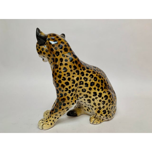 Italian Manlio Trucco Italian Terra Cotta Large Leopard Figure For Sale - Image 3 of 11
