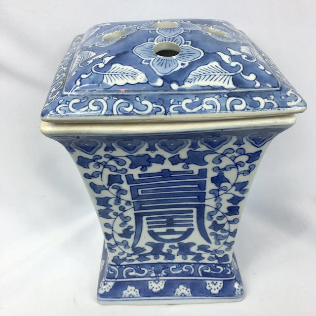 Blue & White Square Chinoiserie Floral Jar - Image 5 of 7
