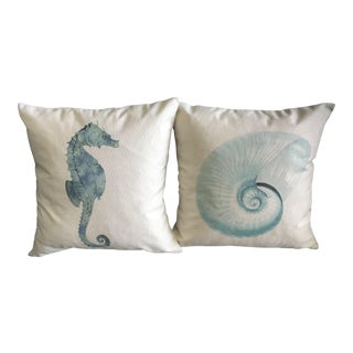 Turquoise Seahorse & Shell Watercolor Pillows - A Pair