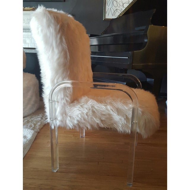 1970's Vintage Faux Fur & Lucite Chairs - Set of 4 - Image 3 of 5