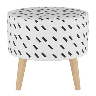 Round Ottoman With Splayed Legs in Charcoal Dash White Oga For Sale