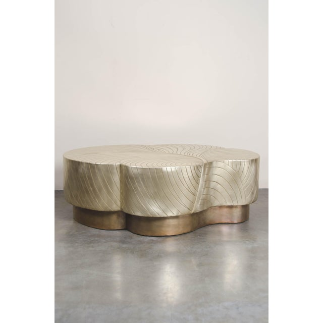 """Leaf design cocktail table (Large) Brass (50"""") Hand repoussé Limited edition Customizable Repousse´ is the traditional art..."""