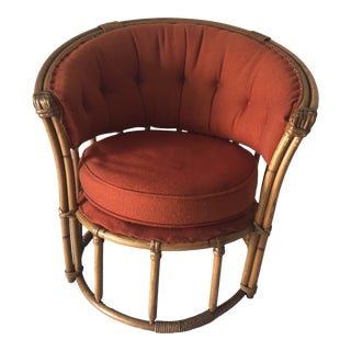 Rare Midcentury Rattan/Bamboo Barrel Chair For Sale