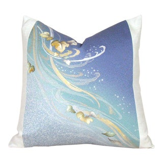 Hand Painted Swirling Leaves Japanese Silk Kimono Pillow Cover For Sale