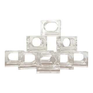 Lucite Napkin Rings, Set of 9 For Sale