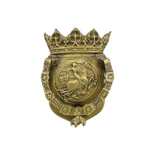 French Brass Coat of Arms Door Knocker
