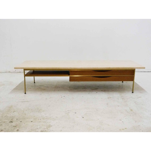 Paul McCobb For Calvin Mahogany, Brass & Travertine Coffee Table - Image 2 of 11