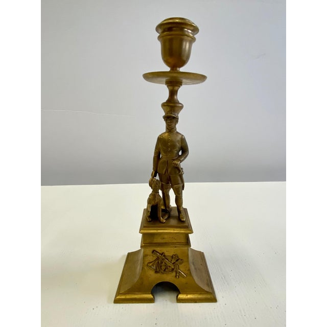 Traditional French Gilt Bronze Equestrian Horseman & Hound Dog Candlesticks -A Pair For Sale - Image 3 of 9