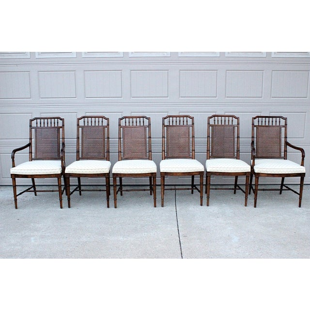 Brown Century Furniture Faux Bamboo Dining Set For Sale - Image 8 of 13