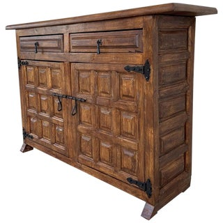 19th Century Catalan Spanish Baroque Carved Walnut Tuscan Credenza or Buffet For Sale