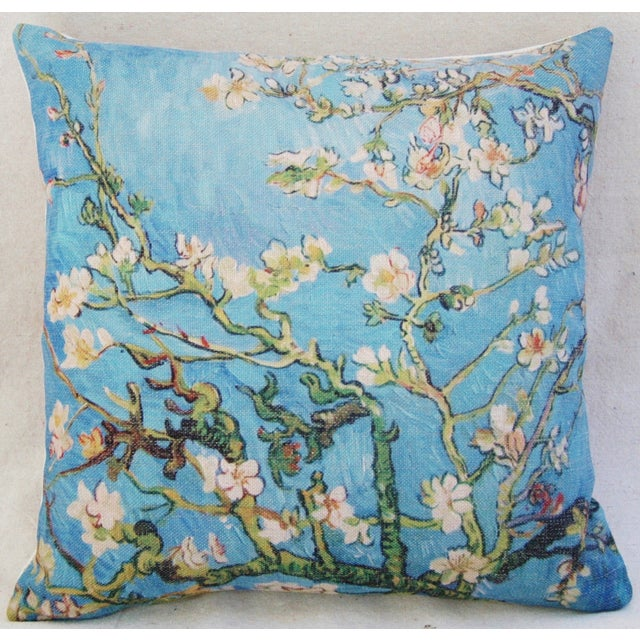 """Chic Van Gogh Inspired Cherry Blossom Linen Feather/Down Accent Pillow 17"""" - Image 3 of 6"""