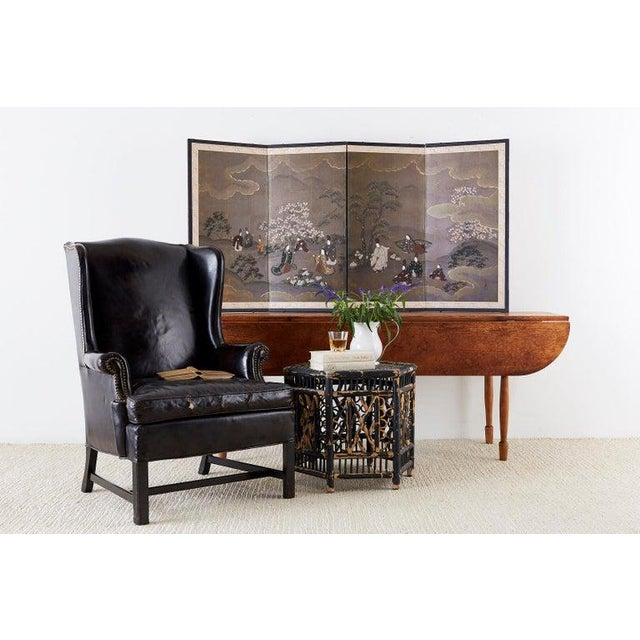 Metal English Georgian Style Black Leather Wingback Armchair For Sale - Image 7 of 13