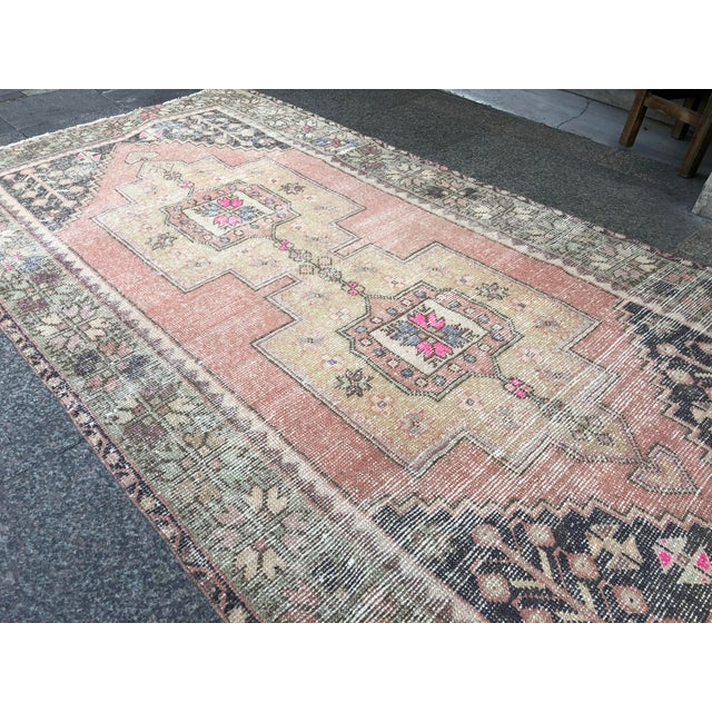 1960s 1960s Vintage Faded Turkish Tribal Rug- 4′2″ × 8′3″ For Sale - Image 5 of 11