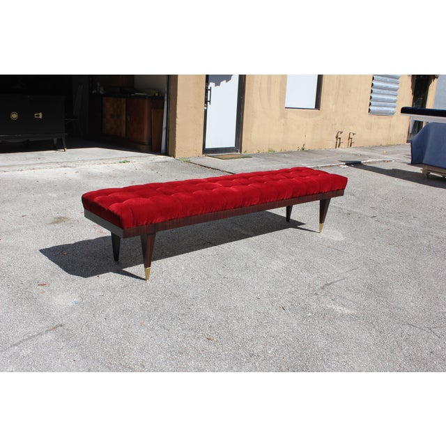 Beautiful French Art Deco Exotic Macassar Ebony Christmas Red Velvet Sitting Bench, circa 1940s. - Image 5 of 11