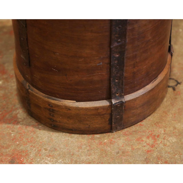 Brown 19th Century French Walnut and Iron Grain Measure Bucket or Waste Basket For Sale - Image 8 of 10