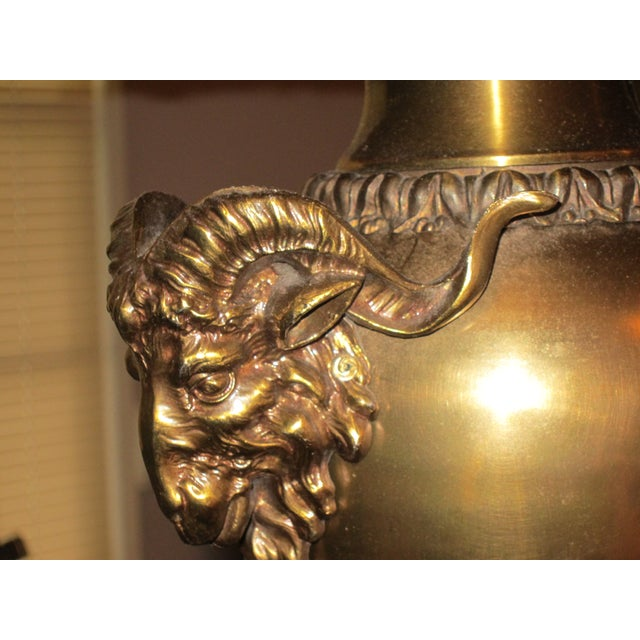 Neoclassical Brass Rams Head Lamp - Pair - Image 3 of 3