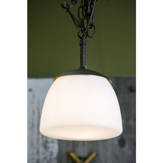 Metal Antique Milk Glass and Iron Pendant For Sale - Image 7 of 7