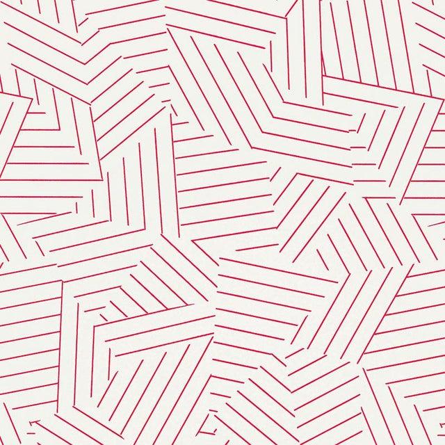 Schumacher Sample - Schumacher Deconstructed Stripe Geometric Wallpaper in Red For Sale - Image 4 of 4