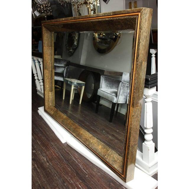 Animal Skin Enormous Coco Fiber Mirror with Orange Goatskin Insert For Sale - Image 7 of 7