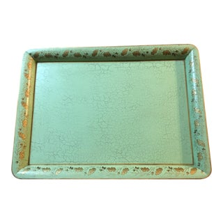 Vintage Large Rectangular Tole Tray/ Light Green/ Hand Painted For Sale