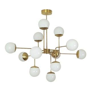 Model 420 Italian Modern Brass & Glass Chandelier