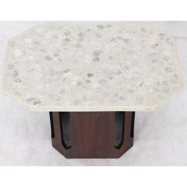 Harvey Probber Oiled Walnut Base Terrazzo Top Side Table For Sale - Image 4 of 10