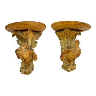 French Polychromed Carved Brackets With Quail - a Pair For Sale