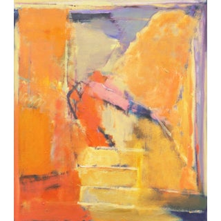'Abstract in Saffron and Lilac, 1999' by Marna Rix, Danish Woman Artist, Large Aarhus Art Academy Oil For Sale