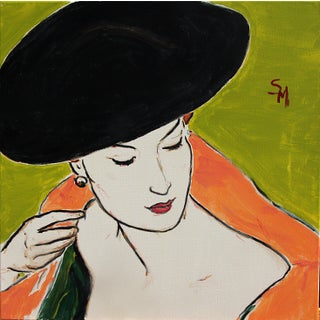 "Sarah Myers ""The Velvet Hat"" Contemporary Acrylic Painting"