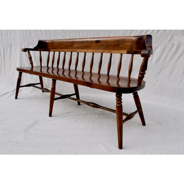 Farmhouse Pine Spindle Back Bench For Sale - Image 10 of 10
