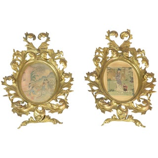 19th Century Antique Japanese Watercolours in Italian Giltwood Frames For Sale
