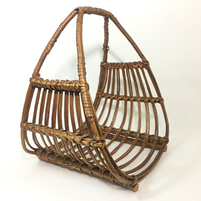 Wood Franco Albini Attributed Rattan Magazine Rack For Sale - Image 7 of 7