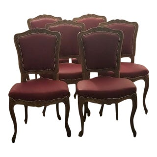 1930s Vintage French Carved Dining Chairs - Set of 6 For Sale
