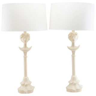 Pair of Vintage Painted Plaster Tête De Femme Lamps, After Diego Giacometti For Sale